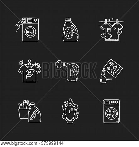 Laundry Types Chalk White Icons Set On Black Background. Coin Wash Service, Washing Machine, Steam A