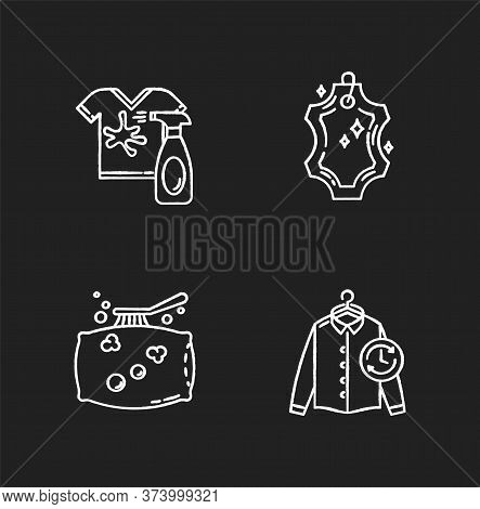 Laundry, Washing Types Chalk White Icons Set On Black Background. Leather Dry Cleaning And Stain Rem