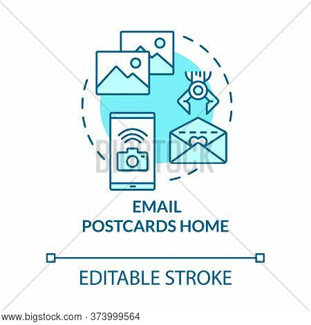 Email Postcards Home Turquoise Concept Icon. Send Image In Sms. Upload Newsletter. Post Picture. Roa