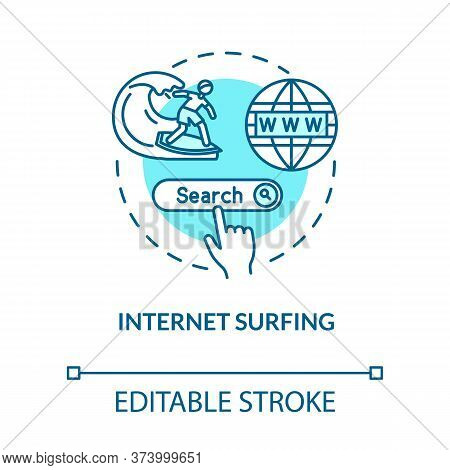 Internet Surfing Turquoise Concept Icon. Link To Web. Search Engine. Global Network Connection. Roam