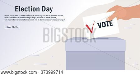 Web Banner Template For Electronic Voting. Hand Puts A Leaflet With A Voice And A Tick In The Ballot
