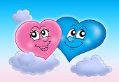 Two hearts on blue sky - color illustration. poster