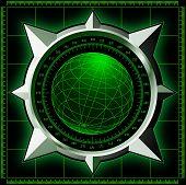 Radar screen. Digital globe inside steel compass rose. Vector EPS10. poster