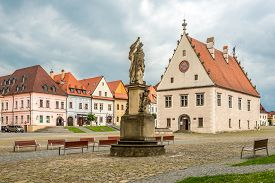 Bardejov,slovakia - June 10,2020 - View At The Old Town Hall At The Town Hall Place In Bardejov. Bar