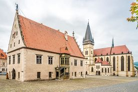 View At The Town Hall Place With Basilica Of St.aegidius And Town Hall In Bardejov - Slovakia