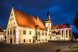 Night View At The Town Hall Place With Basilica Of St.aegidius And Town Hall In Bardejov - Slovakia