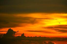 Sunset On Ocean Last Light Red And Orange Sky Silhouette Cloud