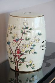 An Old Ceramic Chinese Vase On A Table. Ancient Dirty Chinese Flowers Painting Ceramic Bowl
