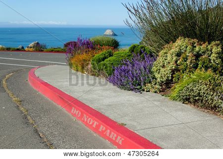 Red Curb With No Parking Sign