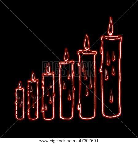 sketch step candle with laser light illustration