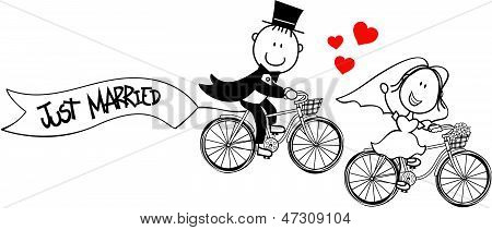 Wedding bride and groom on bicycles