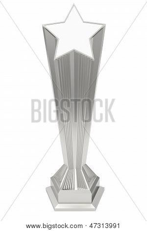 Silver Or Platinum Star Prize On Pedestal On White