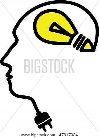 Head With Bulb Symbol And Plug