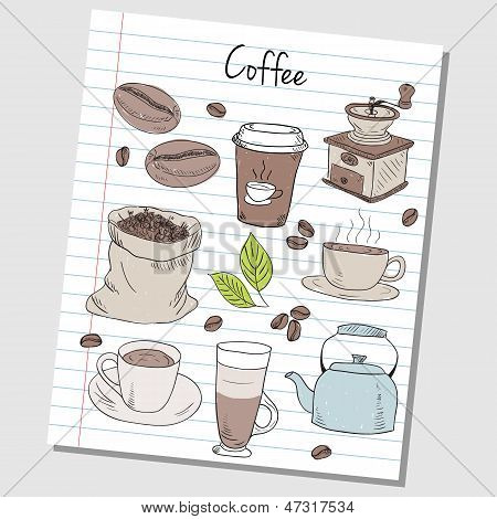 Coffee Doodles - Lined Paper