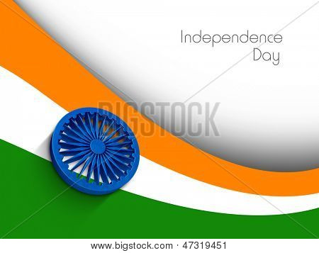 Indian Independence Day concept with 3D Ashoka wheel and national flag trio colors on abstract background.