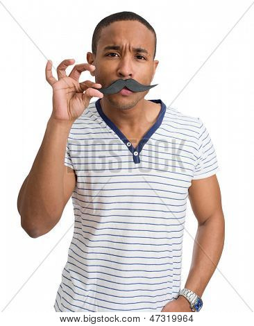 Young African Man With Fake Moustache Over White Background