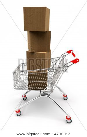 Shopping Cart Full Of Boxes