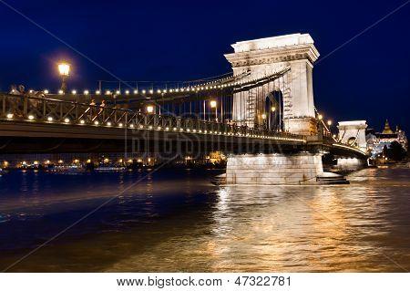 Budapest Chain Bridge Pillar, Hungary.