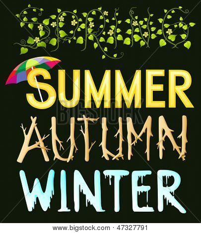 Four season typography - spring - summer - autumn - winter