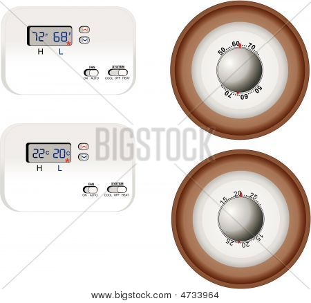 Analog And Digital Thermostat Illustrations