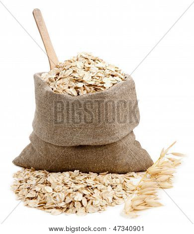 Rolled Oats In A Bag Isolated On White