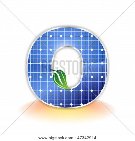 solar panels texture, alphabet capital letter O icon or symbol