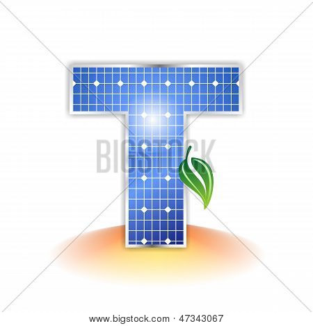 solar panels texture, alphabet capital letter T icon or symbol