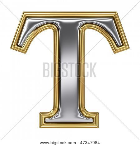 Metal silver and gold alphabet letter symbol - T