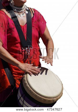 Close Up Of Drumming By Woman In Bright Clothes,