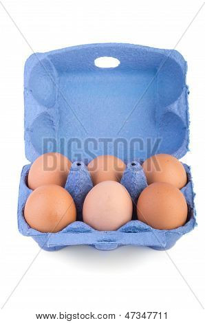 Box With Six Brown Eggs