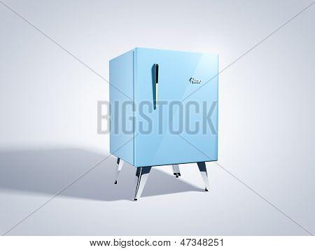 Retro blue refrigerator