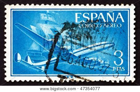 Postage Stamp Spain 1956 Plane And Caravel