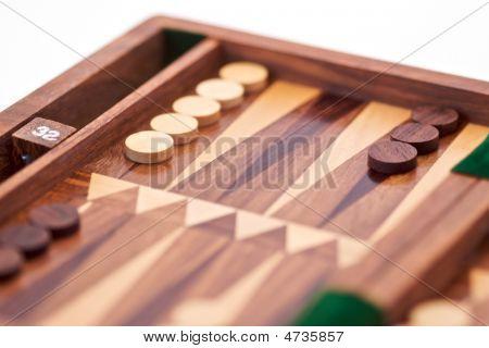 Wooden Backgammon Closeup