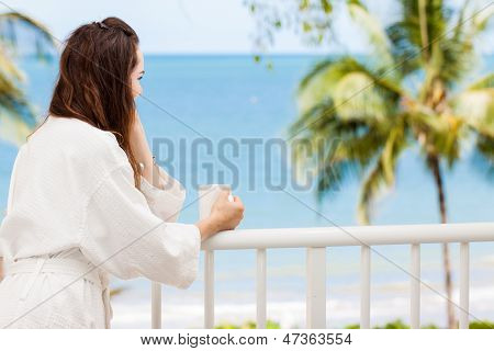 Woman On A Tropical Balcony