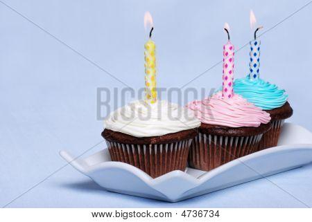 3 Colorful Birthday Chocolate Cupcakes