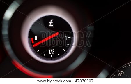 Pound Sign Fuel Gauge Nearing Empty.