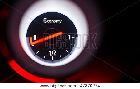 Economy Fuel Gauge At Empty.