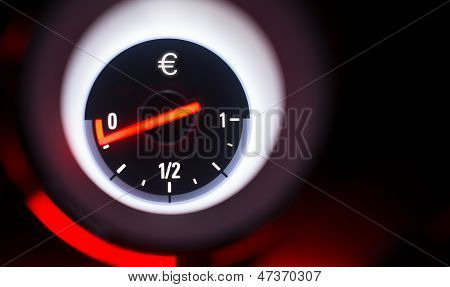 Euro Sign Fuel Gauge At Empty.