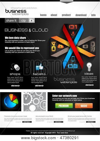 Website template with infographics for corporate business and cloud purposes. Ideal for company blogs with high class presence.