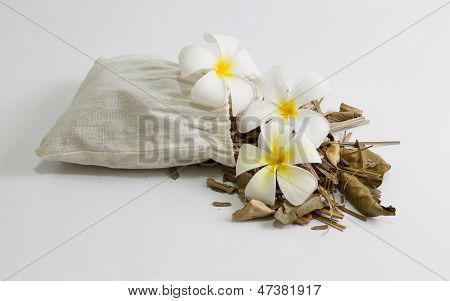 Dried Thai Herbal Massage Isolated On White Background