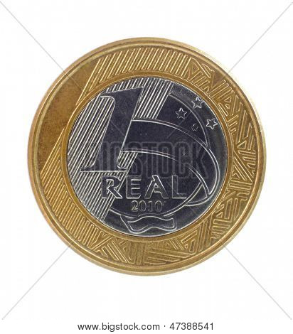One single Brazilian real coin on white background