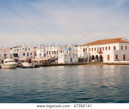 Church On Mykonos By The Sea, Surrounded By Boats. Greece.