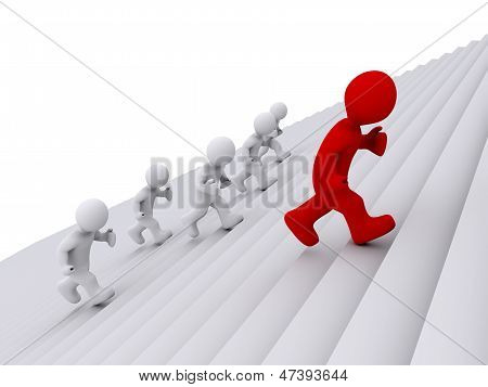 People Running Up The Stairs, But One Is The Leader