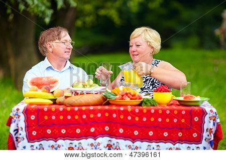 Happy Mature Couple Having Lunch Outdoors