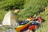 Kayak camping in Siskiyou Wilderness North California. poster