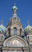 """Church of the Savior on Spilled Blood (Khram Spasa na Krovi) - this church has numerous stunning cupolas in the """"Russian"""" manner some of which are multi-colored or constructed like from geometric patterns. poster"""