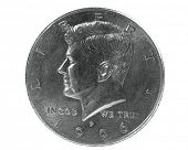 Half dollar coin with John F Kennedy design poster