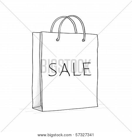 Sale bag, icon. Sketch vector illustration in doodle style