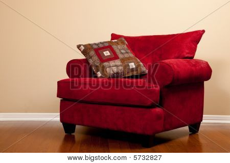 Red Farbic Chair Empty