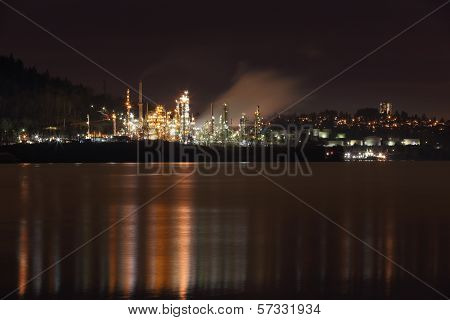 Burrard Inlet Refinery Night, British Columbia